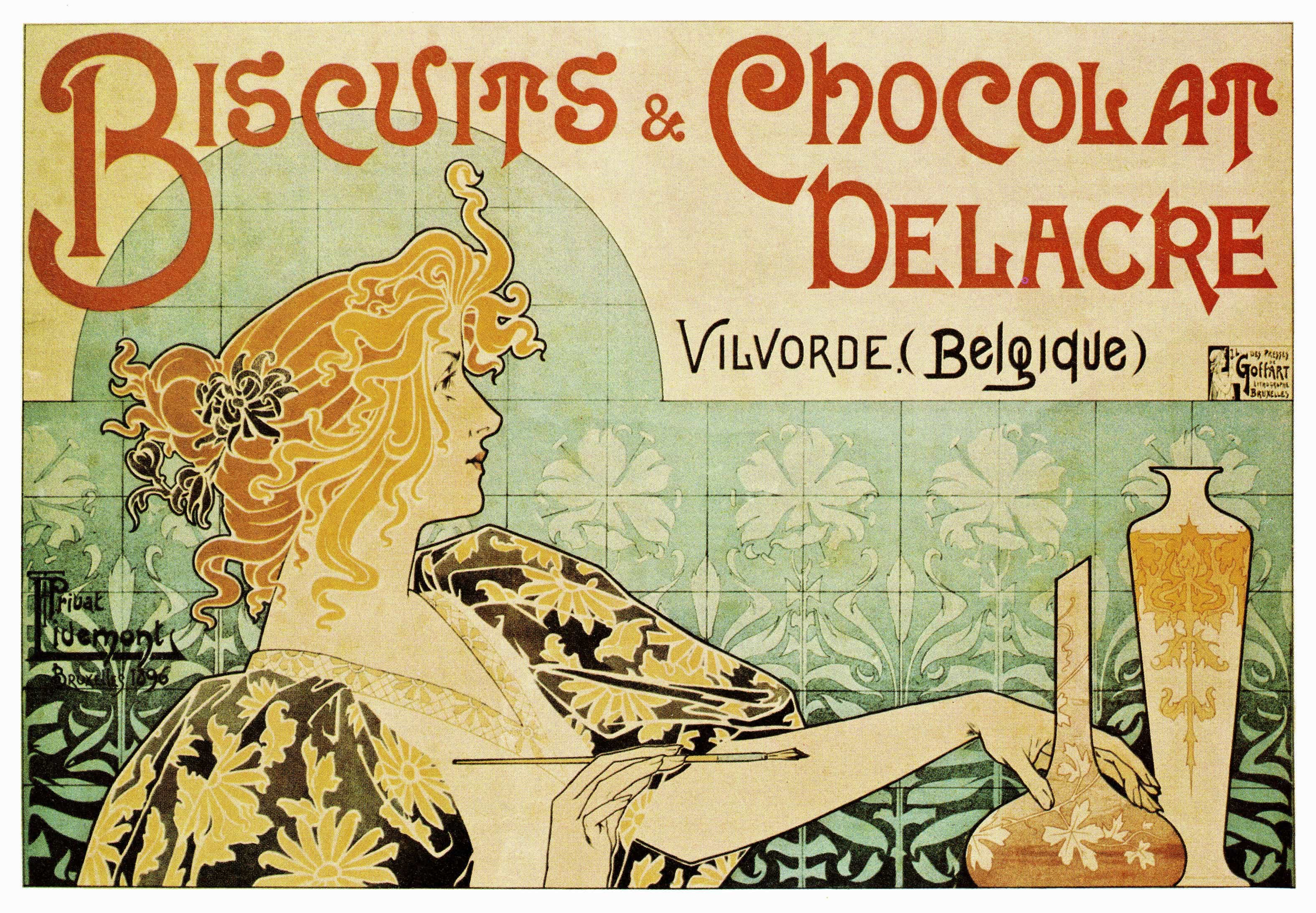 Biscuits chocolat delacre poster by henri privat livemont for Posters art prints