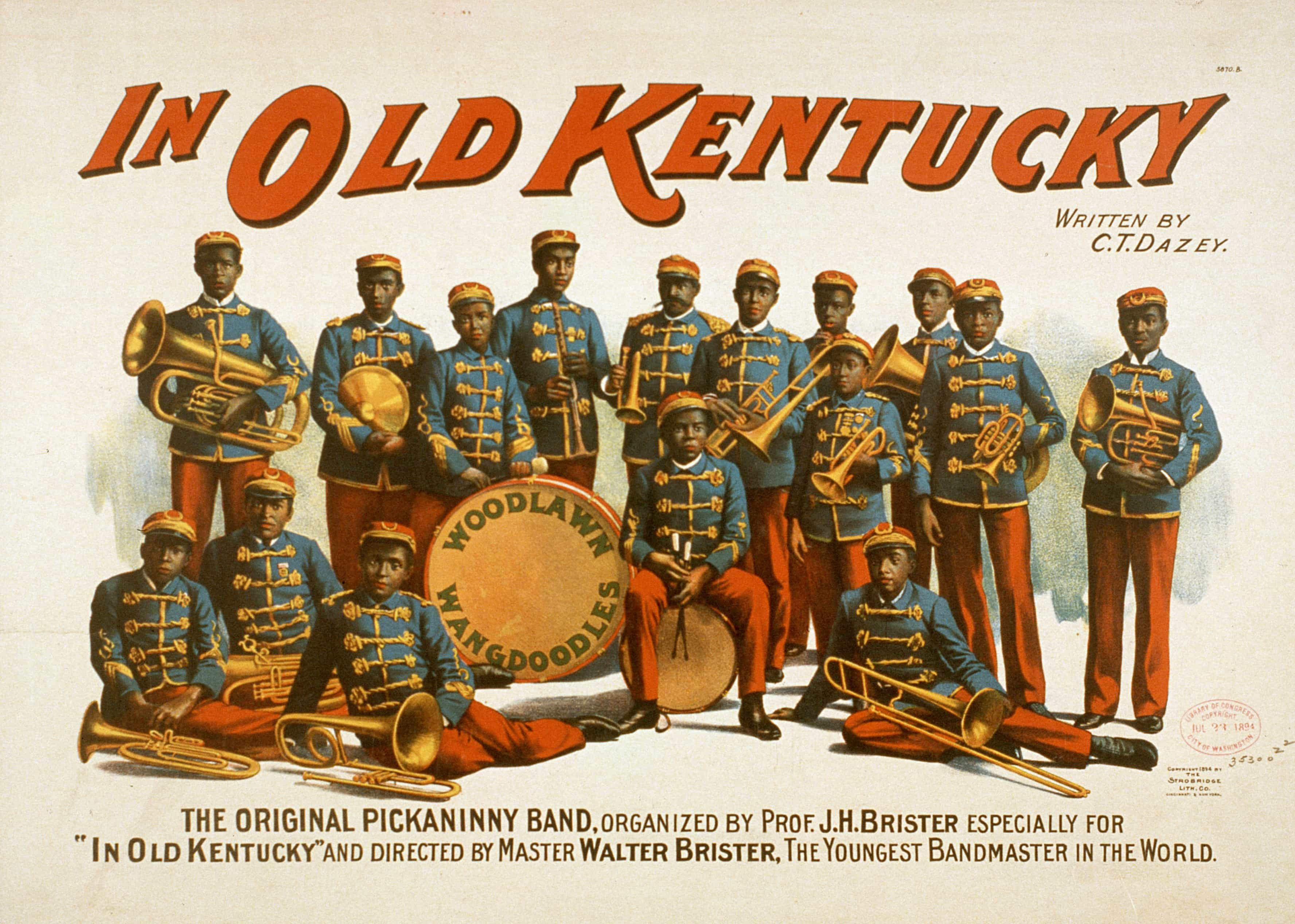 1894 Old Kentucky Pickaninny Vintage Music Band Poster