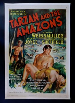 1945 Tarzan and the Amazons Vintage Film Poster