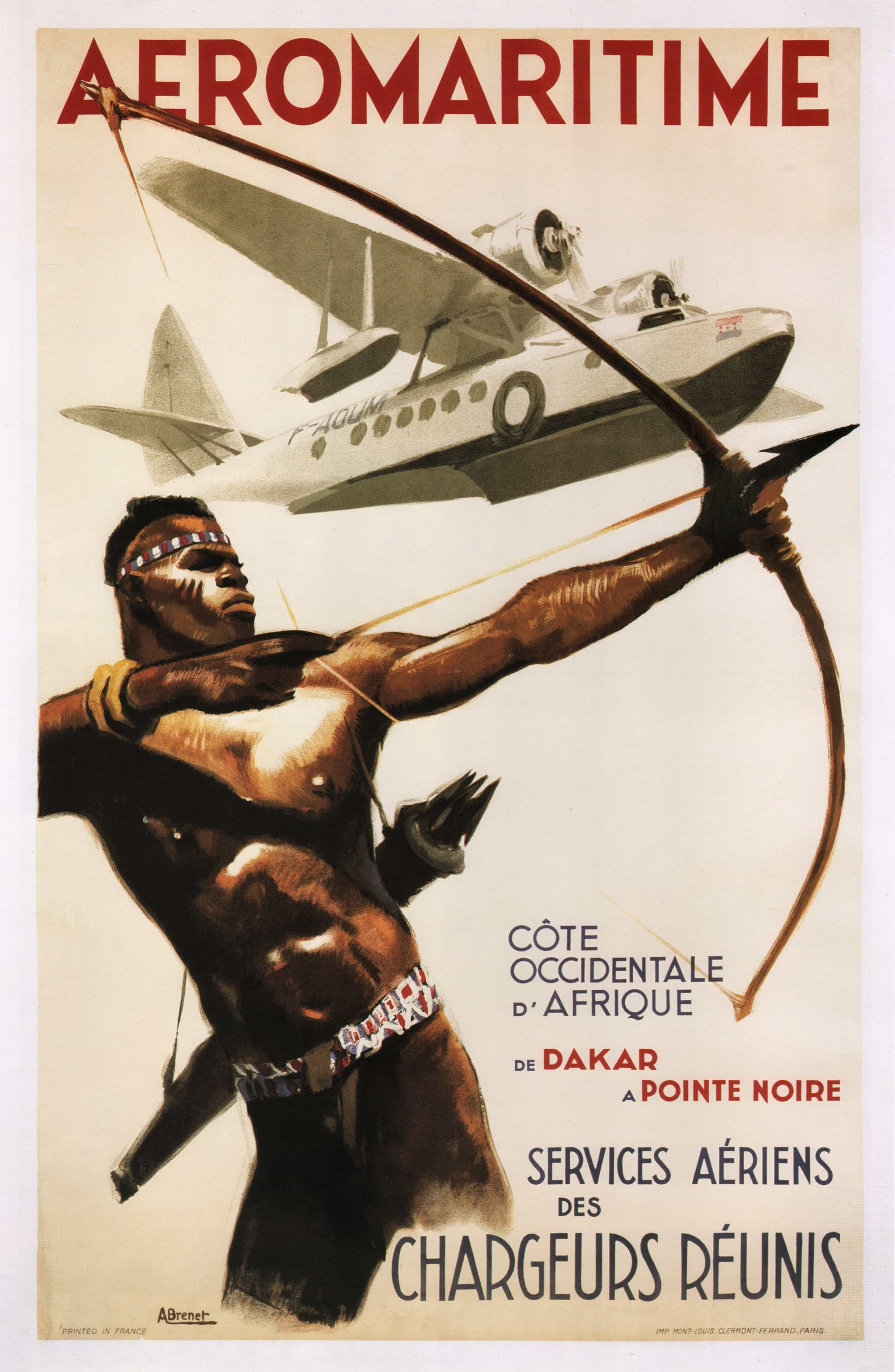 Vintage Airline Poster French African AEROMARITIME