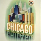 """Vintage Travel Poster, American Airlines """"Chicago"""" by Henry K. Bencsath"""