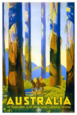 Percy Trompf Vintage Tourism Poster – Australia, The Tallest Trees in the British Empire – Marysville, Victoria, 1930