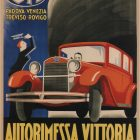Italian Auto Vintage Advertisement Poster, Autorimessa Vittoria Padova, 1930