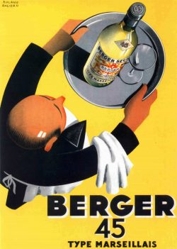 Vintage French Wine Poster Berger 45 by Roland Ansieau, 1935