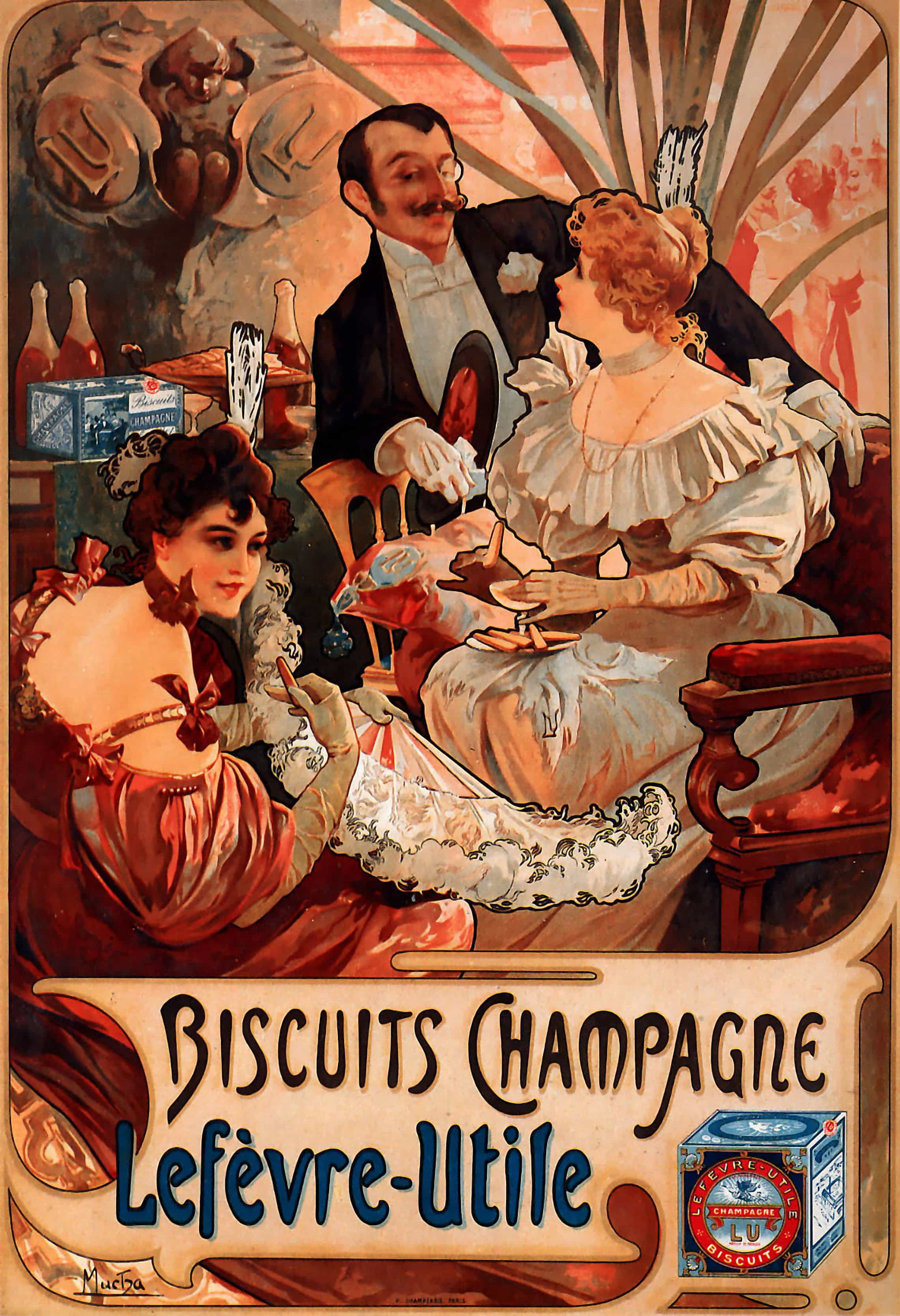 Biscuits champagne lef vre utile poster alfons mucha for Deco utile cuisine