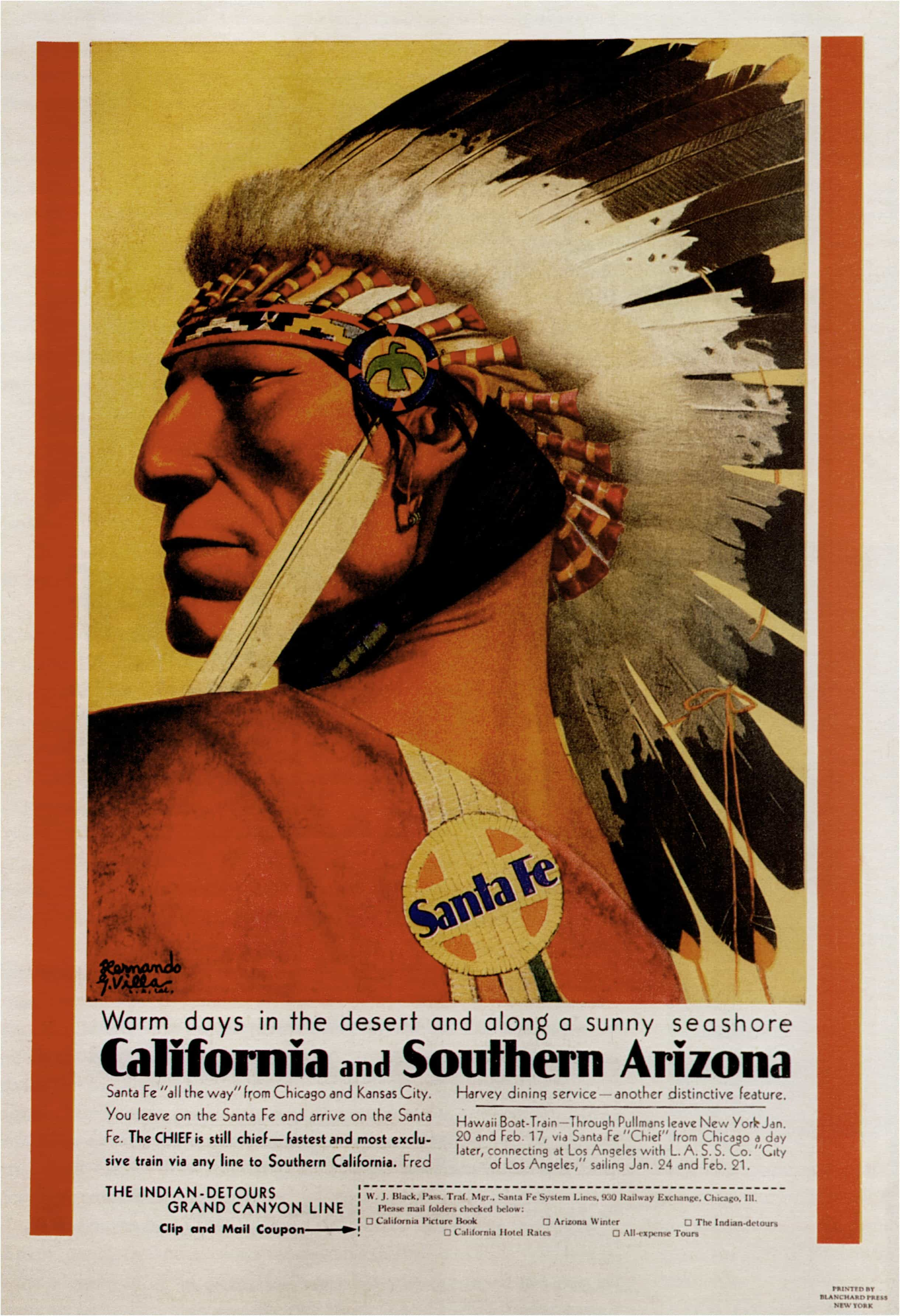 Every Inch The Chief Santa Fe Vintage Travel Poster Print classic wall art Retro