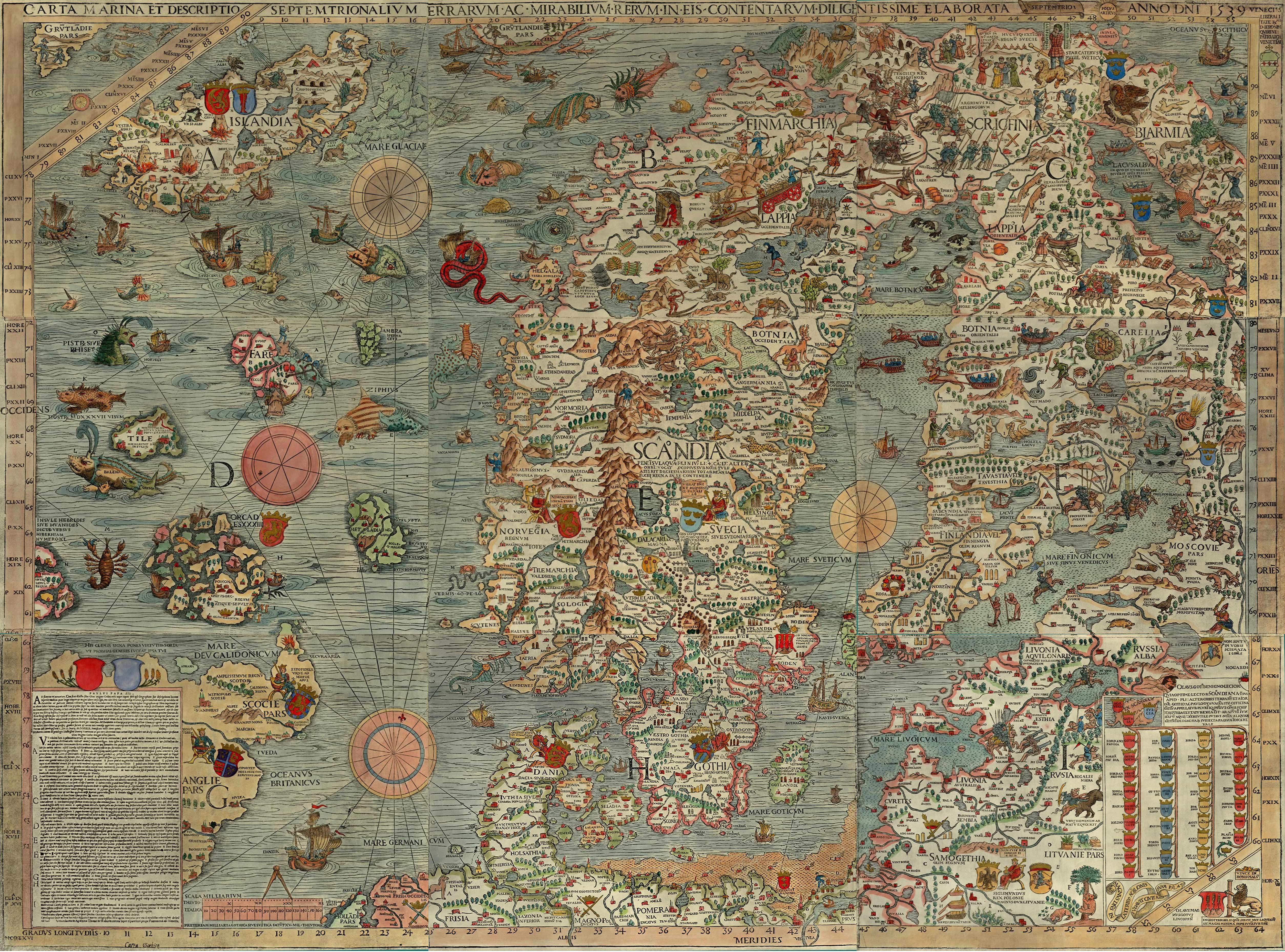 Carta Marina 1539: Olaus Magnus Map of Scandinavia