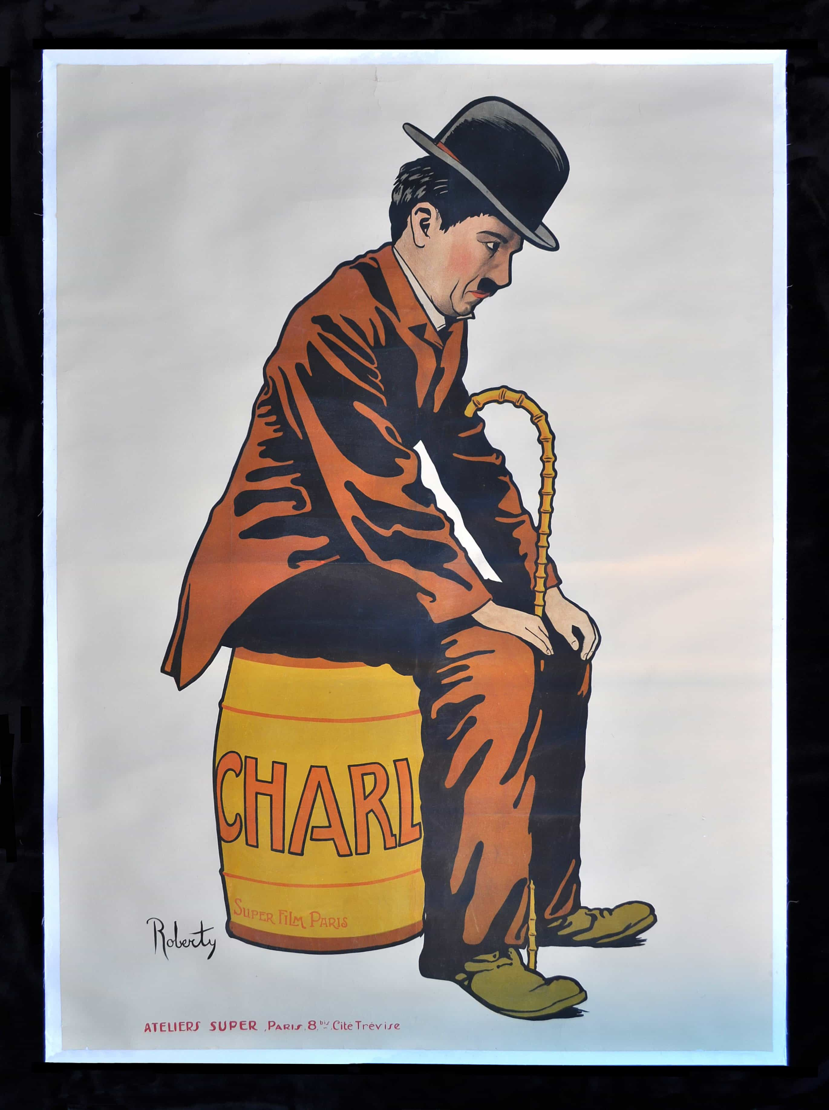 """""""Charlot"""" Charlie Chaplin Poster by Roberty, 1917"""