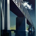 Vintage Railway Poster: The Little Belt Bridge, Danish State Railways