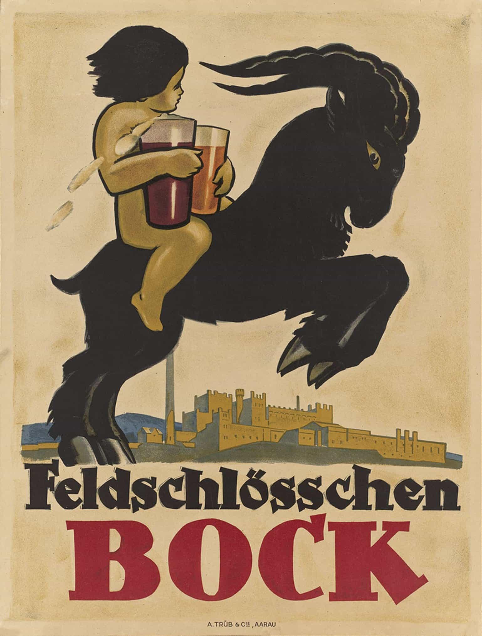 Feldschlosschen Bock Brewery 1910 Vintage Beer Advertising Poster