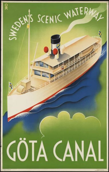 Göta Canal Swedens Scenic Waterway Art Nouveau Vintage Travel Poster