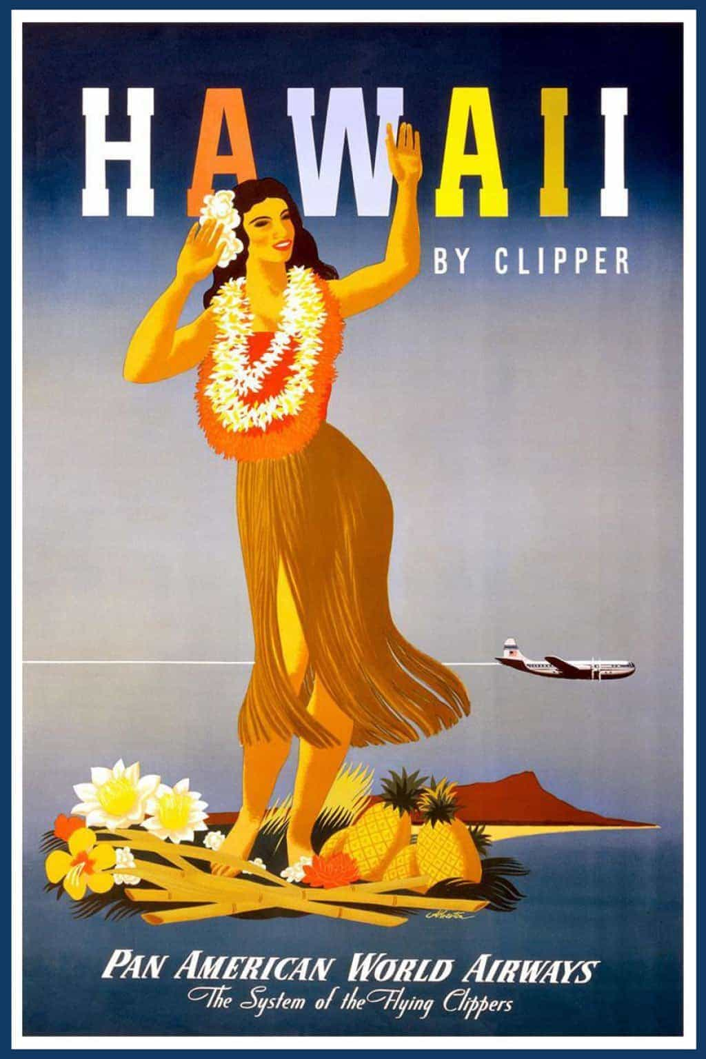 """Vintage Airline Poster Advertising """"Hawaii by Clipper"""" Pan ..."""