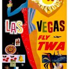 David Klein's Vintage Tourism Poster Advertising 'Las Vegas – Fly TWA' 1965