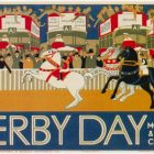 """Retro Poster of London Underground's """"Derby Day"""" by Herry Perry in 1928"""