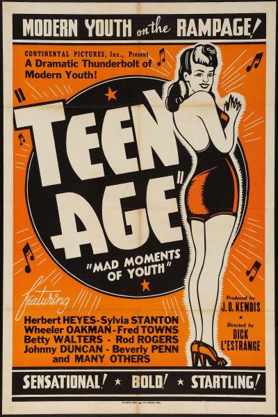 Modern Youth on the Rampage Teen Age Mad Moments of Youth Vintage Theater Poster