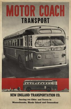 Motor Coach Transport, New England Transportation Co, 1940s Antique Travel Poster