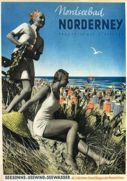 Nordseebad Norderney Germany Vintage Travel Poster