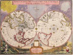 Antique Map: Novus Planiglobii Terrestris Per Utrumque Polum Conspectus