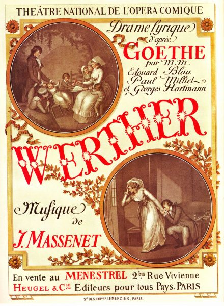 Original Antique French Advertising Poster 1893 Paris Opera Goethe Werther