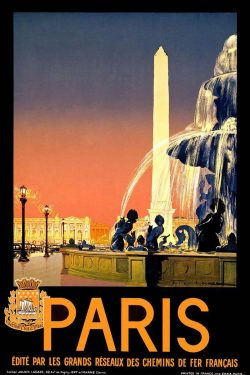 "Paris ""Fountain"" Vintage Travel Poster"