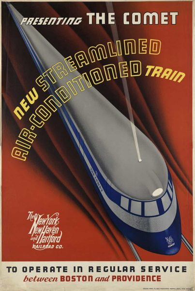 Presenting The Comet, New Streamlined Air-Conditioned Train-New York Travel Poster-1935