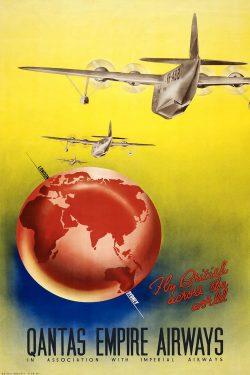 1938 Vintage Airline Poster: Qantas Empire Airways
