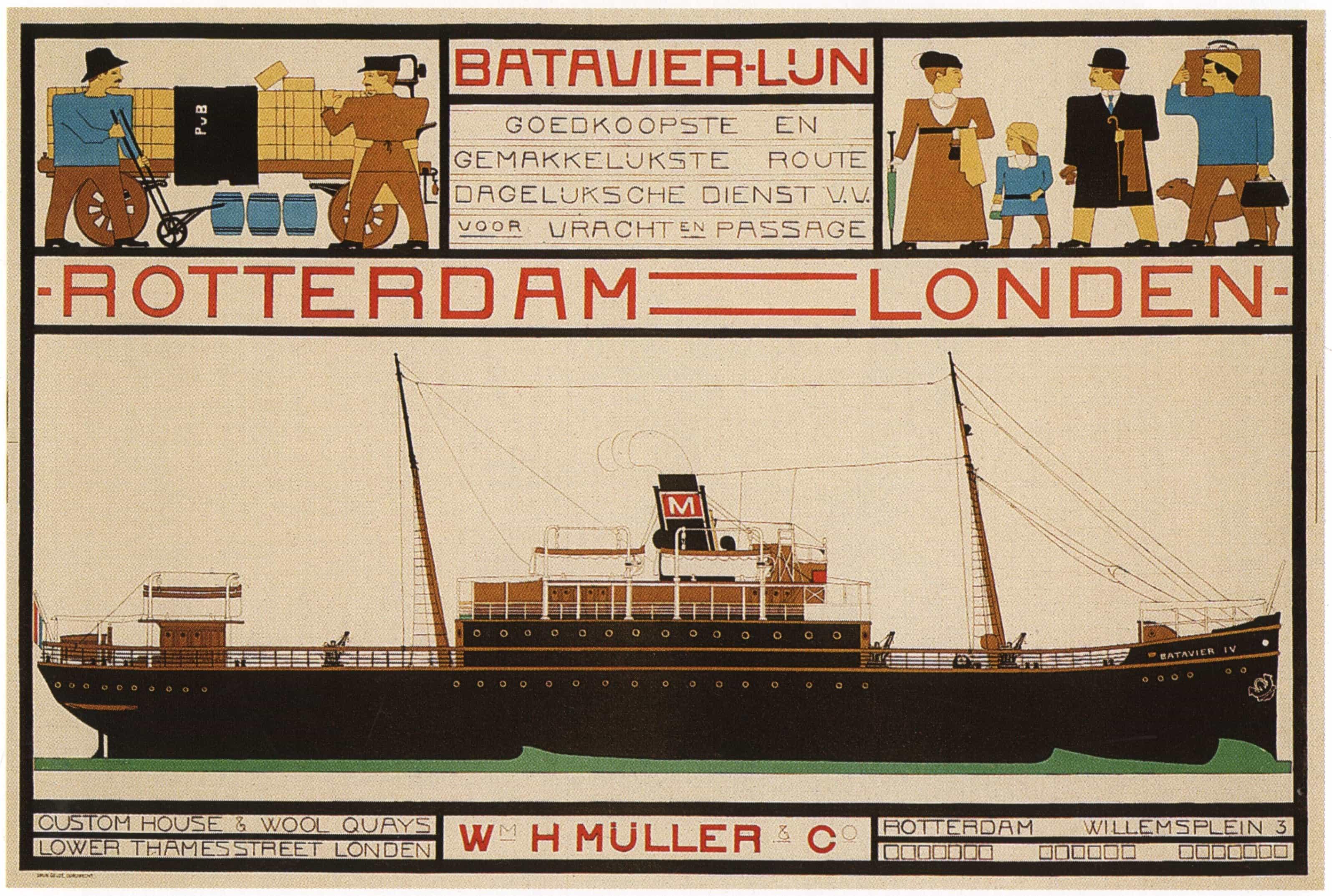 Cartoon Art Design BATAVIER Rotterdam London Travel Poster