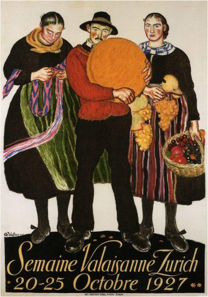 Semaine- Valaisanne- Zurich- Vintage -Poster-1927