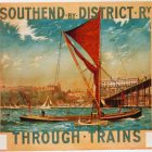 """Charles Pears """"Southend by District Through Trains"""" vintage poster, 1915"""