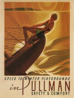 Vintage Art Deco Poster: Pullman Speed to Winter Playgrounds