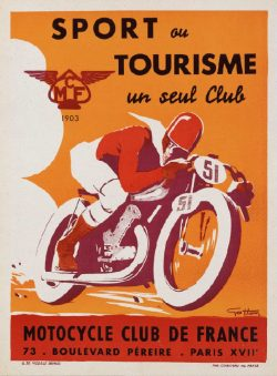 Motorcycle Club de France Vintage French Poster