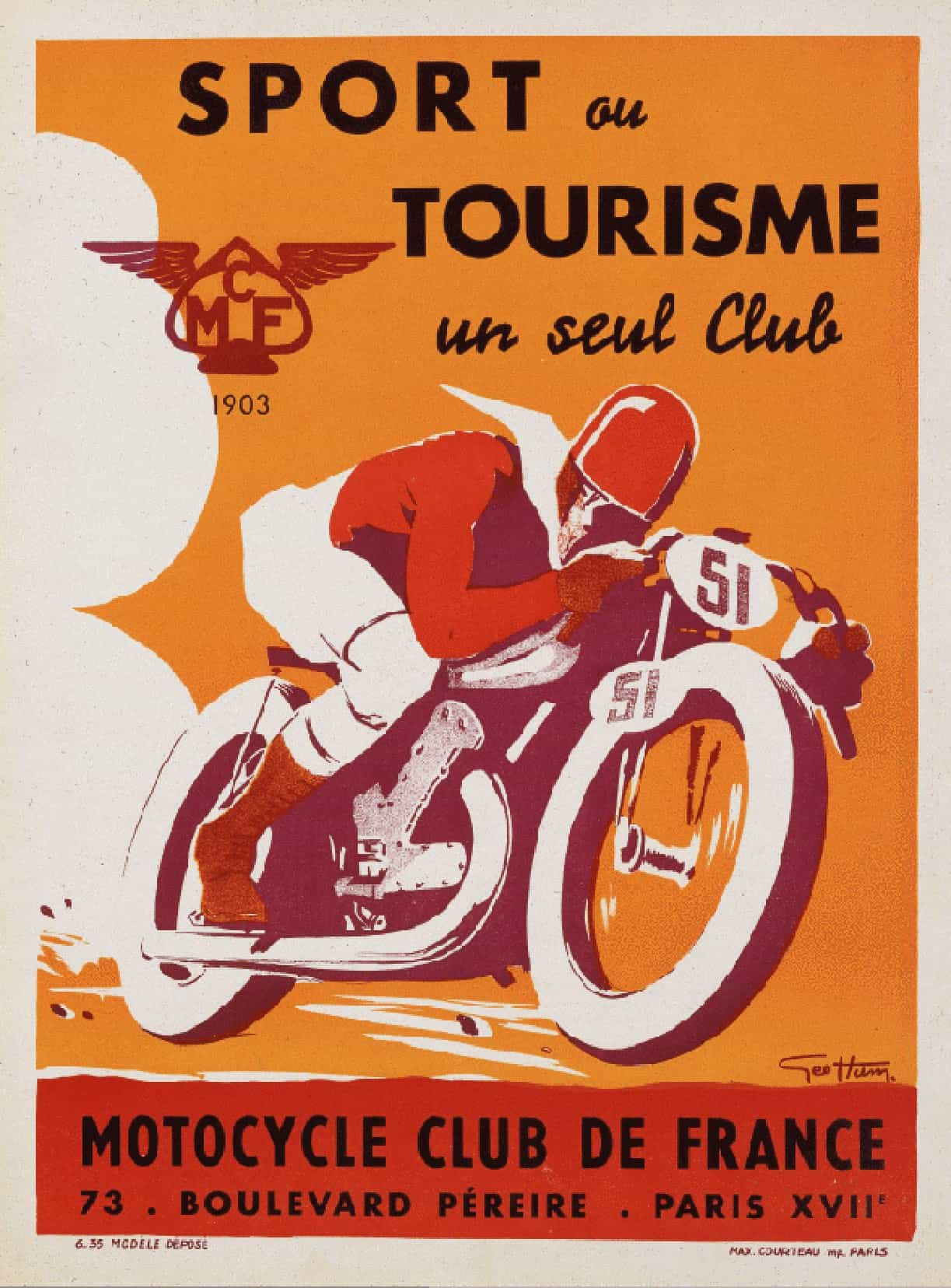 sport ou tourisme un seul club motorcycle club de france vintage french sports poster retrographik. Black Bedroom Furniture Sets. Home Design Ideas