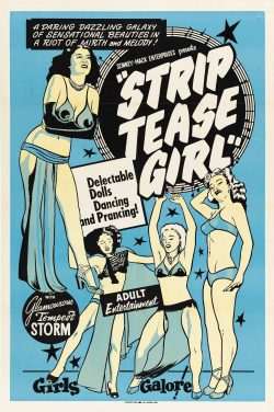 """Strip Tease Girl """"Adult Entertainment"""" Vintage Theater Poster"""