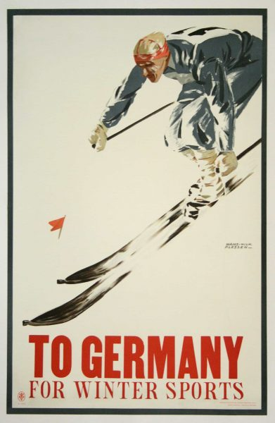 To Germany for Winter Sports Vintage Travel Poster