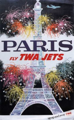 PARIS Fly TWA Jets Vintage Airline Travel Poster