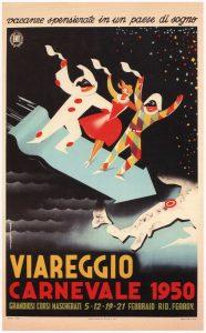 Viareggio-Carnevale- Retro- Travel-Poster-1950