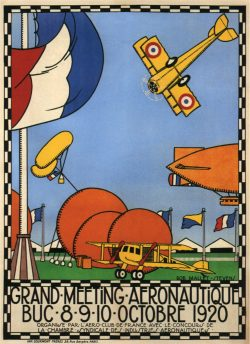 Vintage Exhibition Poster Grand Meeting Aeronautique, 1920