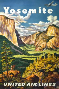 Joseph Feher Yosemite, United Air Lines Vintage Tourism Poster, 1945