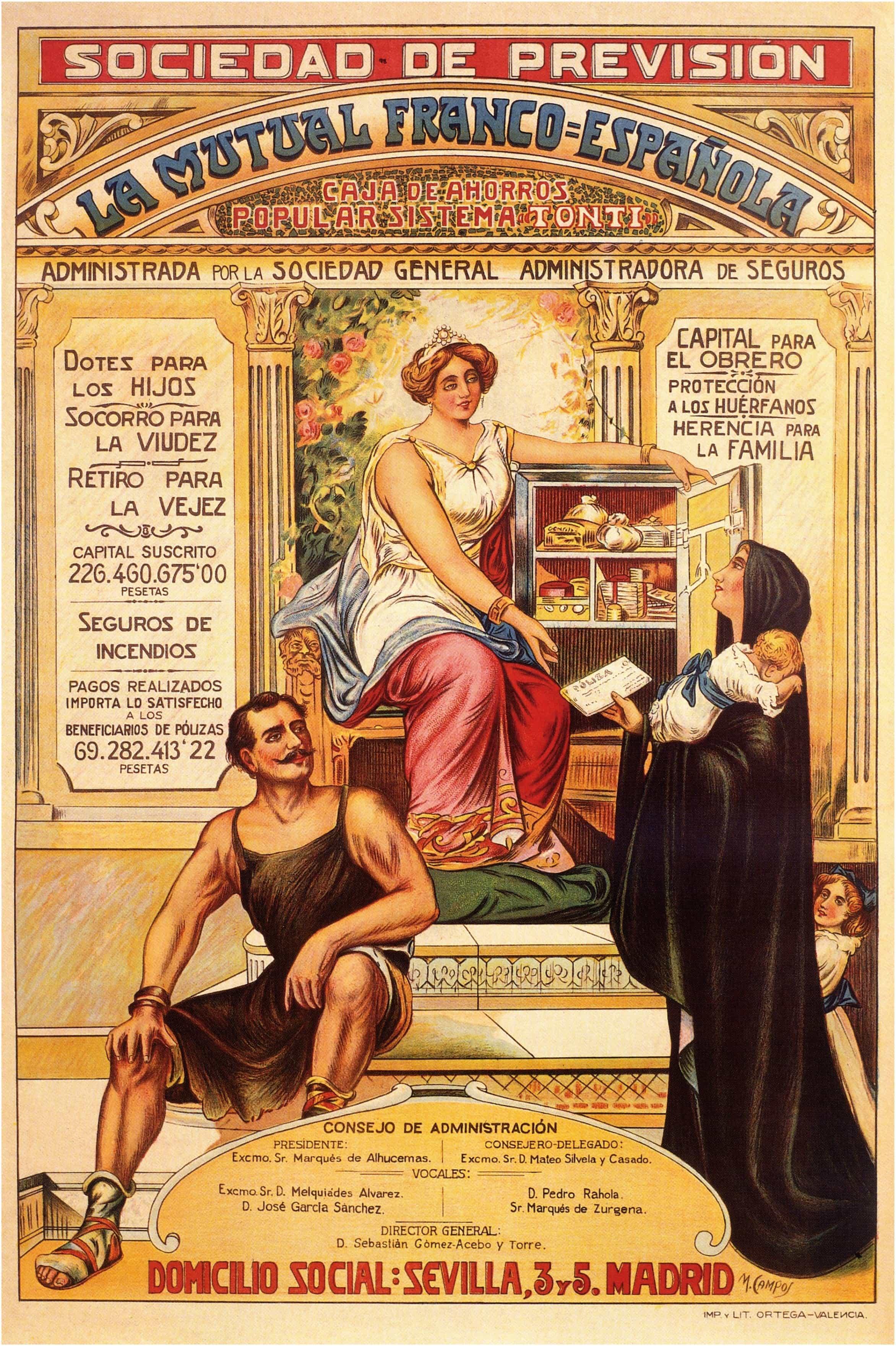 Vintage spanish posters los seguros obreros privados 1900 - Vintage valencia ...