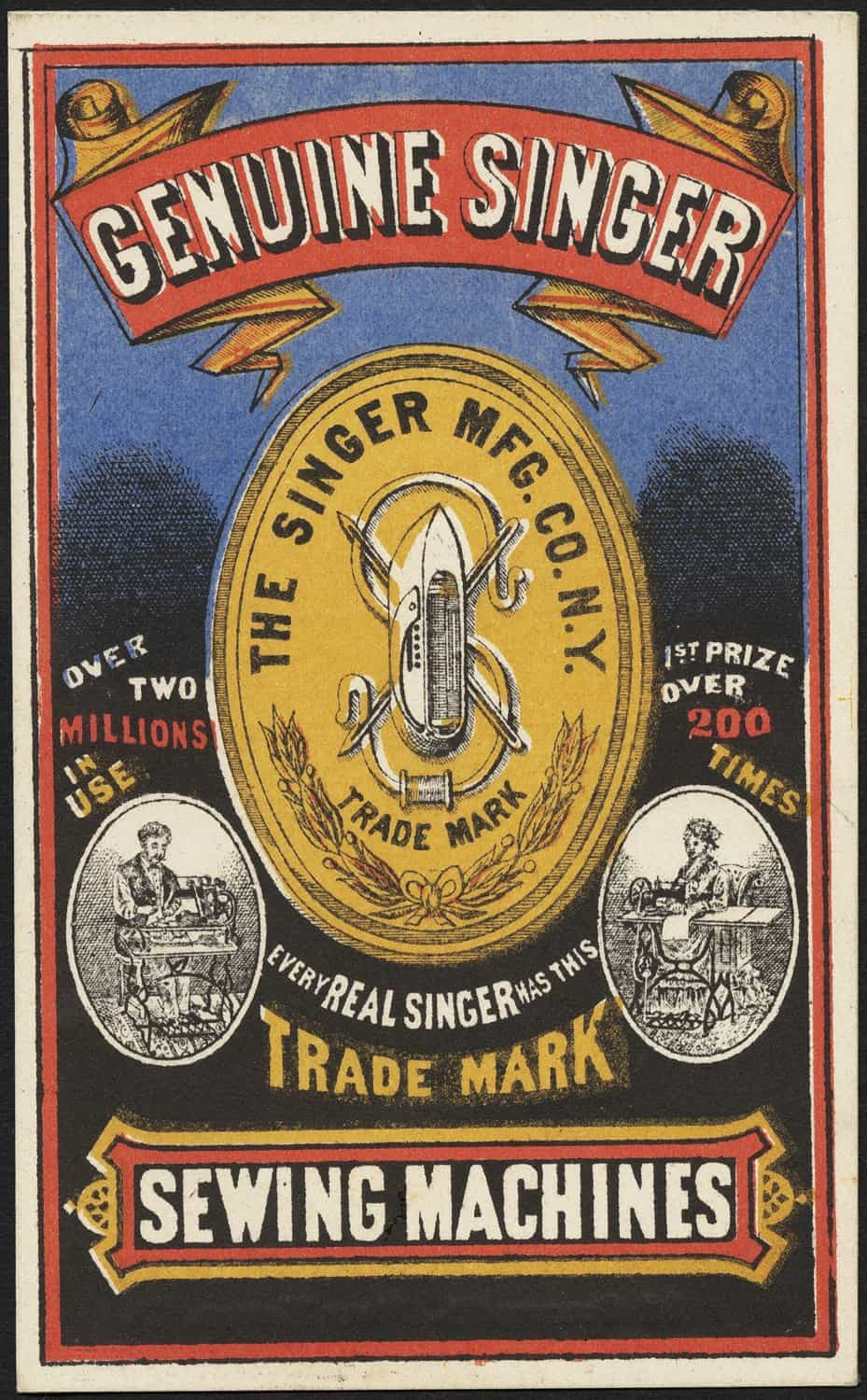 Genuine Singer Sewing Machine Advertisement Poster 1885