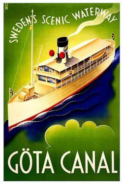 Göta Canal Vintage Travel Poster of Sweden, 1900