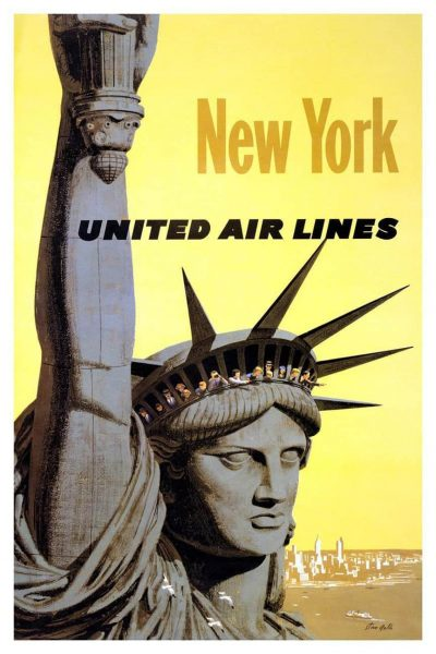 Iconic Statue of Liberty Travel Poster for New York United Airlines