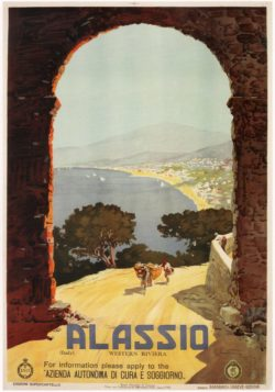Alassio Italy, Vintage Travel Poster, 1929