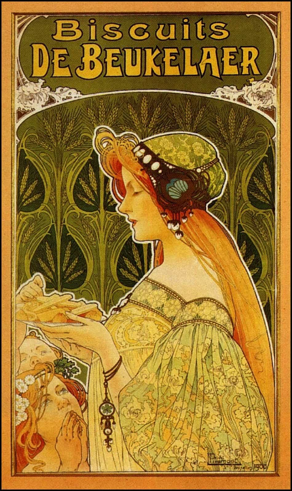 Book Cover Art Nouveau ~ Biscuits de beukelaer by privat livemont poster