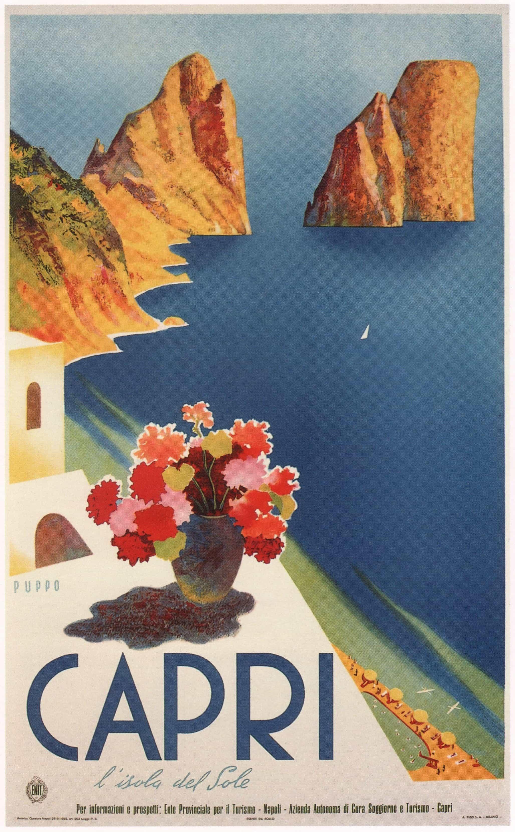 Capri, Italy Vintage Tourism Poster, 1952
