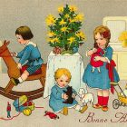 Vintage Christmas Card: Children Playing Around the Christmas Tree