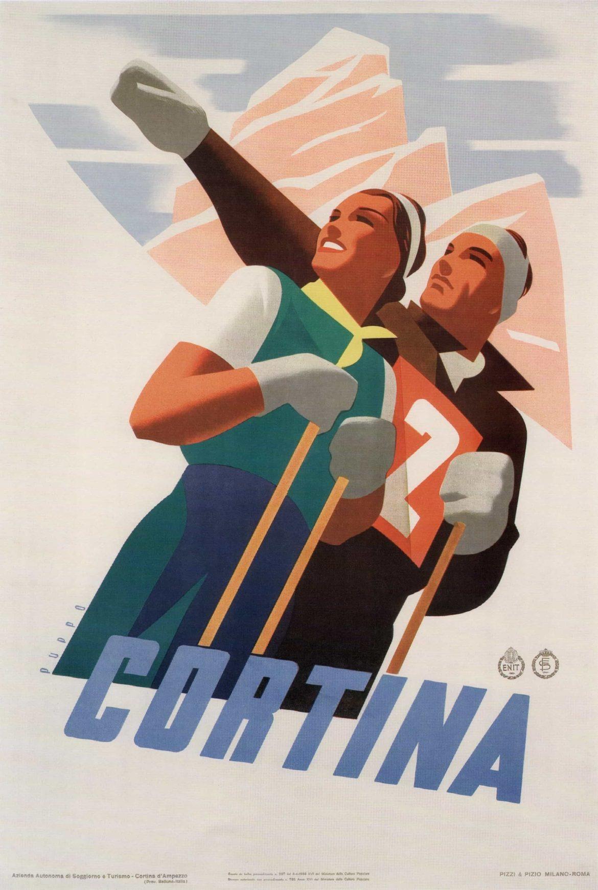 Cortina Italy Skiing Winter Tourism Poster, 1938