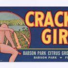 Vintage Fruit Crate Label: Cracker Girl