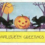 Creepy Hallowen Greetings Vintage Clip Art