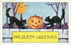 Halloween Greetings Pumpkin and Black Cats Vintage Clip Art, 1920